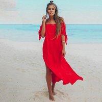 파티 드레스 우아한 여름 해변에서 어깨 맥시 드레스 여성 레드 섹시한 느슨한 휴가 Boho Long 2021 솔리드 Sundress Vestidos1