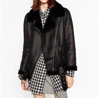 Fitaylor inverno falso jaqueta de couro de cordeiro mulheres faux couro cordeiros lã colar de pele camurça casaco casaco feminino quente espessura outerwear lj201127