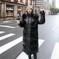 Женщины Parkas Farkas Ficusrong Мода Длинные глянцевые женские зимние куртки для зимних куртков толстые теплые сияющие с капюшоном
