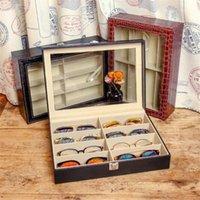 VIVIBEE 8 Almacenamiento Black PU Cuero Gafas de sol Gafas de sol Fashion Cocodrilo Marrón Mostrar Caja Lentes Llevar Box1