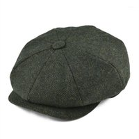 Botvela Laine Tweed Newsboy Cap Herringbone Hommes Femmes Chapeau de rétro classique avec doublure doublure pilote Cap noir brun vert 0051