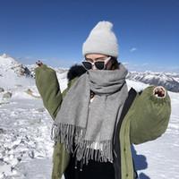 Yün Eşarplar Kış Lüks 100% Kaşmir Eşarp Erkekler Ve Kadın Tasarımcı Klasik Büyük Ekose Atkılar Pashmina Infinity Eşarplar CGRT