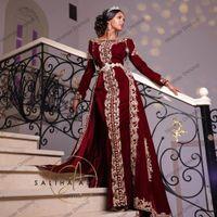 Overskirt 2021 Karakou Algérien 럭셔리 골드 레이스 자수 카프 탄 카프 탄 이브닝 가운 부르고뉴 벨벳 댄스 파티는 정장 드레스