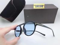 النظارات الشمسية المستديرة للأزياء للرجل امرأة نظارات توم مصمم نظارات ساحة الشمس uv400 فورد عدسات الاتجاه مع مربع نظارات شمسية TF0381