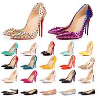 2021 Luxurys Designers scarpe con scatola Fondo rosso tacchi alti donna mocassini da sposa per feste punte a punta Décolleté con fondo rosso Scarpe eleganti