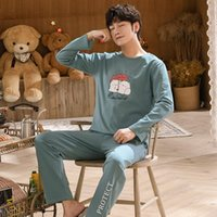 Men Pajamas Set Cotton Big Size Pyjama Long Sleeve Casual Sl...