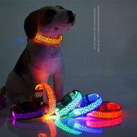 LED Nylon Pet Dog Collars Leashes Leopard Print Night Safety Anti-lost Glow Light Flashing Leash Collar For Different kinds Animal Supplies DHL Free