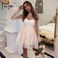 캐주얼 드레스 Missord 섹시한 Flare 슬리브 메쉬 여성 높은 목 투명 파티 드레스 긴 미니 Vestidos M0819