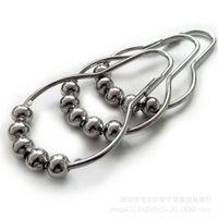 Cortina de metal Rollerball Ducha anillos de cortina de ganchos de bola de rodillo 5 pulido níquel de los accesorios de baño de bola del satén