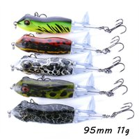 5 Color Mixed 95mm 11g Frog Hard Baits & Lures Fishing Hooks 6# Hook Pesca Fishing Tackle WA_312