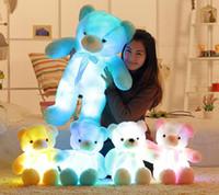 30cm 50cm Trace d'arc de noeud papillon nounours peluche d'ours en peluche avec une lumière lumineuse lumineuse de lumière colorée intégrée de lumière de la Saint-Valentin jouet en peluche