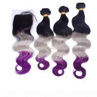 3 tons cheveux tissés 1b extensions de cheveux gris violet avec fermeture en dentelle Embrandes de cheveux Body Wave avec fermeture en dentelle