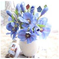 Fiori decorativi Corone E5 Equipaggia alta convenzione Fashion 2021 Artificiale Foglia falsa Magnolia Floral Bouquet da sposa Partito Home Decor