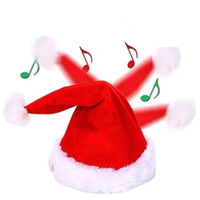 Christmas Snapback Adjustable Hat Funny Shaking Dancing Singing Santa Claus Cap Electric Toys Xmas Party Prop Decoration
