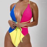 Badeanzug Mode Lässig Frauen Kleidung 2021 Frühling Bikinis Bademode V-ausschnitt getäfelte Print Damen Designer Bini