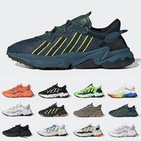 adidas triple noir ozweego running chaussures de sport coutures scellées solaire vert halloween tons hommes femmes baskets de sport