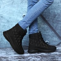 Quality High Shoes Woman Lace Up Black Ankle Comfortable Boo...