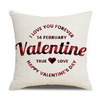 Caja de almohada de la almohada de San Valentín Lino Amor Home Libere Pillows Soft Decorative Cojín Funda para Sofa Silla Almohada Cubiertas Yys4280
