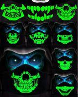 Маска Хлопок пыле РМ2,5 Аниме мультфильм Черная маска Рот Женщина Мужчины Night Glow В Dark Skull рот маски Половина Муфельная лица