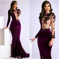 2021 Purple Velvet Mermaid Evening Party Dresses with Long Sleeve Sexy See Through Beaded 3D Floral Arabic Occasion Prom Dresses Cheap