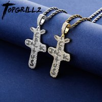 TOPGRILLZ Cactus Jack Pendant &Necklace Iced Cubic Zircon Plated Gold Silver Color Hip Hop Jewelry For Men Women LJ201007