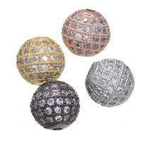6 8 10mm Round Balls Micro Zircon Loose Spacer Craft European CZ Beads For Charm Bracelet Necklace Fashion DIY Jewelry Making