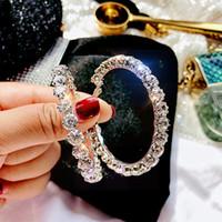 925 스털링 실버 포스트 5.5cm 큰 원 반짝 CZ 크리스탈 후프 귀걸이 모조 다이아몬드 후프 EarringsChristmas 선물
