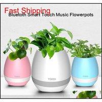 TOKQI Bluetoth Smart Touch Música Flowerpots Planta Piano Música Jogando Sem Fio Flowerpot Colorido Light Flor P Qylxnd Embalagem2010