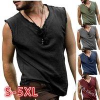 T-shirt Indossata con scollo a V in camicia in cardigan spazzolato T-shirt senza maniche casual per uomo