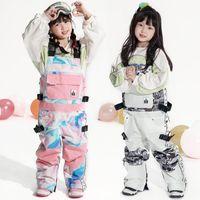 Лыжные брюки 2021 Водонепроницаемые Детские Спортивные Спортивные Детские Снежные Спецоментальные Зимние Детские Комбинезоны Ветрозащитный Один кусок Костюмы Одикации1