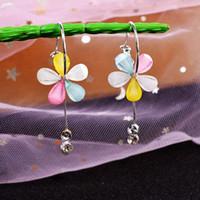 24Pairs / Lot Gold Gem Fashion Boucles d'oreilles à la mode et aux boucles d'oreilles de couleur de cinq feuilles de cinq feuilles d'une noeud papillon des boucles d'oreilles longues de qualité supérieure HJ298