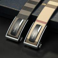 Nueva moda para hombre correas de negocios Ceinture Hebilla automática Cinturones de cuero genuinos para hombres y mujeres Cinturón de cintura