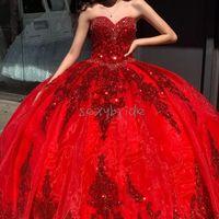Princess Red Quinceanera Robes avec manches détachables Sparkless Sequins Sweet 16 robe Vestidos de 15 Anos Oros organza mascarade robe de bal