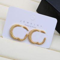 Мода Двойная буква Серьги Ретро Металлические Серьги Шпильки Европейские Американские Женщины Серьги Ювелирные Изделия S925 Серебряная Игла