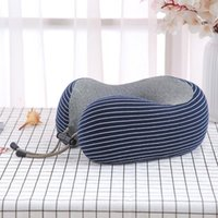 Striped Travel Neck Pillow Memory Foam U-shaped Pillow Office Lunch Break Lightweight Car Seat Airplane Sleeping Cushion