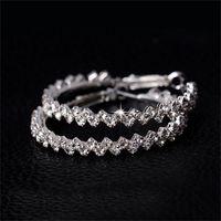 Orecchini cerchio per le donne gioielli di moda diamante orecchino da sposa oro tondo orecchini a goccia appeso 925 argento sterling big hoop orecchini 24 N2