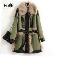 Женский меховой из искусственных женщин Pudi Tudi Real Sheewskin с пальто куртка леди женская мода зима теплая над размером натуральные овечки пальто Parka A40172