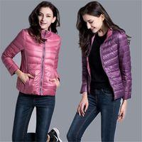 Женщины пуховики Parkas зимняя утка куртка женские пальто Parka ультра легкие куртки обратимые две боковых одежда
