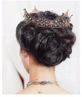 Vintage barroco Lujoso de lujo hecha a mano de encaje de encaje pelo tiara cristal perla rey reina corona accesorios para novia nupcial