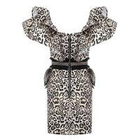 Twotwinstyle Fırfır Leopar Elbise Kadın V Boyun Kolsuz Backless Seksi Bodycon Elbiseler Kadın 2020 İlkbahar Yaz Moda Yeni T200623