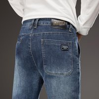 2021 Spring New Men Casual Jeans Classic Regular Blue Washed Denim Pants Plus Size 40 42 44 Fashion Brand Male Cowboy Trousers