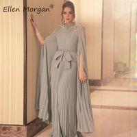 Arabisch Muslim Silber Chiffon Lange Abendkleider Engagement Hochzeits Partei Events High Hals Formale Kleider für Frauen tragen 201113