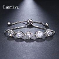 Emmaya Brand Fashion Luxury Charm Three colors Water Drop Adjustable Crystal Zircon Bracelets For Woman Elegance Wedding Gift