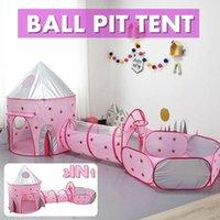 3 в 1 складных игральных палаток на открытом воздухе бассейн Pit детские дети крытый палатка игровой дом океан бассейн туннель игрушка день рождения подарок LJ200923