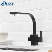 Quadratische Küche Wasserhahn 3 Wege Wasserfilter Tap 360 Grad Rotation Wasser Wasserhaarige Schwarz Messing Küche Waschbecken Tap Water Mixer T200710