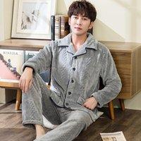 Flannel Pajamas для мужчин зима утолщение теплый флис пижамы набор мужчина серый с длинным рукавом на пуговицах домашняя одежда спящая одежда Pijama1