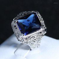 Обручальные кольца FDLK мужская мода полый цветок великолепный аксессуар женские большие синие Zircon участие ювелирных изделий1