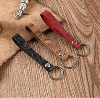 Llavero cuero top capa piel de vaca tallado patrón mango largo llavero anillos mujeres hombres accesorios de moda titular de la llave