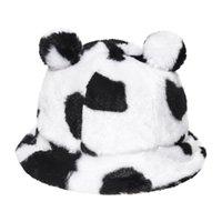 Широкие Breim Hats Faux Мех зима Панама Медведь ухо Открытый солнцезащитный крем Ведро шляпа Универсальный леопард Печать коровьей волосы плюшевая бассейна