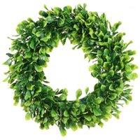 인공 녹색 나뭇잎 화환 - 15 인치 Boxwood 화환 야외 녹색 전면 문 벽 창 파티 장식 1